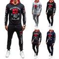 Горячие продажа 2016 марка костюм набор для мужчин 4 цветов с длинным рукавом мужская толстовки и толстовка размер сша 2xl толстовки наборы