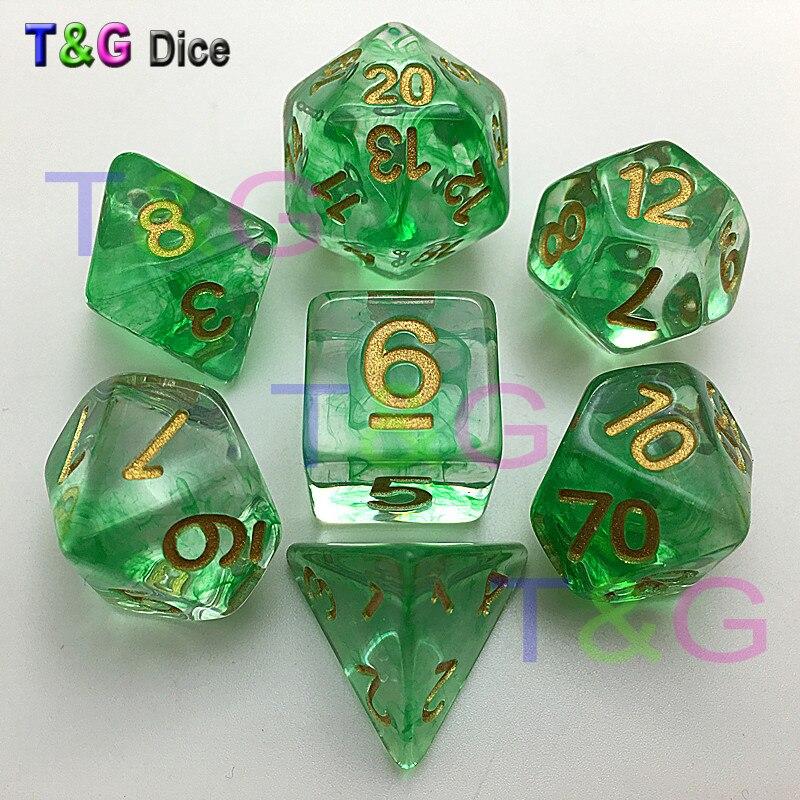 Brandneuer Würfel Polyhedral Nebula Green w Weiß 7er Set für D & D-Spiel plus Tasche