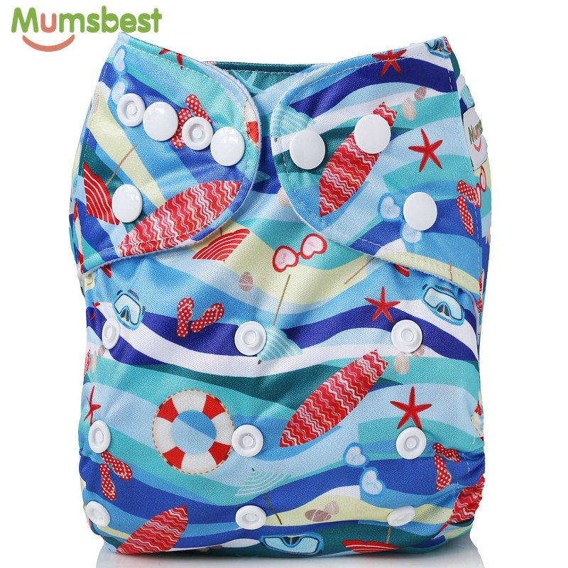 [Mumsbest]Baby Cloth Diapers Cover Waterproof Washable Digital print Diapers Pocket Reusable Beach Series Babies Cloth Nappies