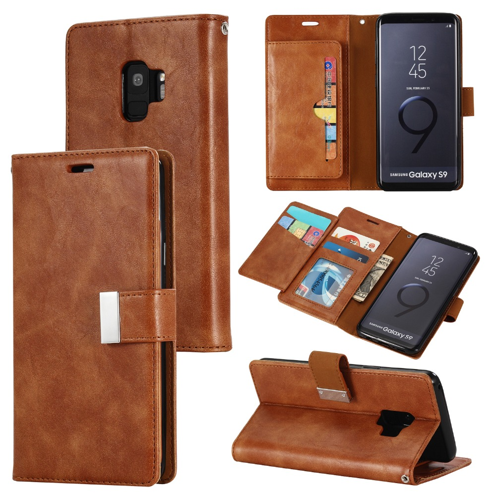 High Quality For Samsung Galaxy S9 Case Retro Wallet Flip Leather Cover Cases For Samsung S9 S9Plus Telefoon Hoes Coque Bag wallet