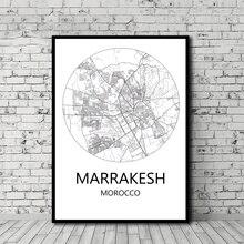 1e999bcae8b Marrakesh Tangeri Rabat Casablanca Marocco Mappa della Città in Bianco e  Nero Poster Stile Nordico Stampa