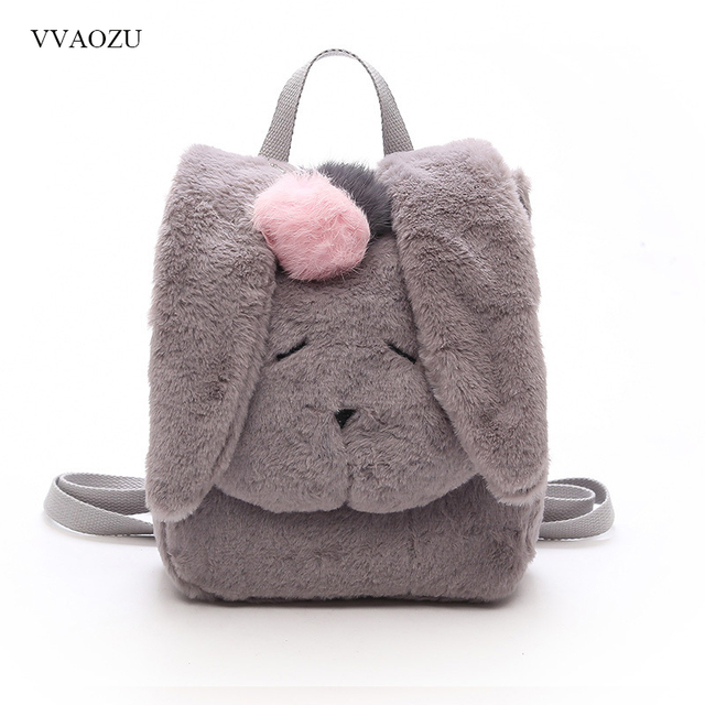 a983c509fba1 Rabbit Style Women Winter Shoulder Bag Long Ear Fluffy Bunny Backpack Cute  Furry Toy Schoolbag Christmas Gifts for Girls Mochila