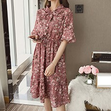 Korean-Casual-Print-Women-Dress-Bohemian-Ladies-Flare-Half-Sleeves-Knee-length-Bow-O-neck-Dresses