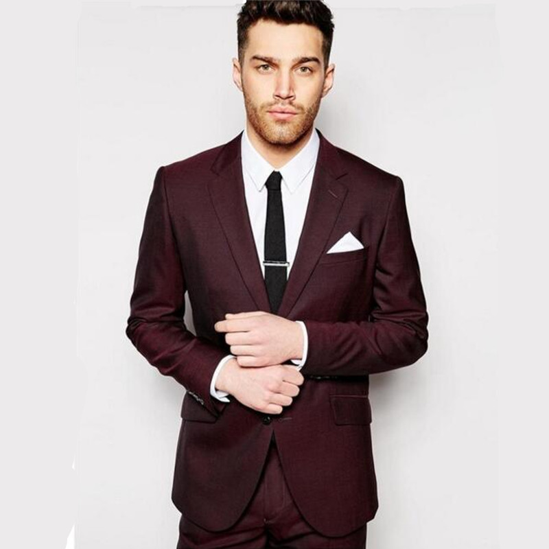 Tailored suits design men suits burgundy wedding suits for Custom suits and shirts