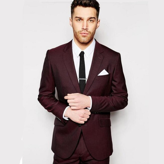 Tailored suits Design men suits Burgundy wedding suits tuxedos ...
