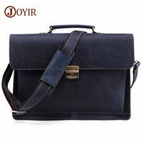 JOYIR Crazy Horse Genuine Leather Men's Briefcase Vintage Messenger Shoulder Bag Men's Business Laptop Handbag For Male 6393