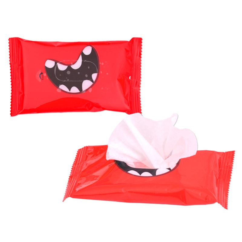 5Pcs/Bag Disposable Non-Woven Fabric Lid Cover Removal Wet Wipes Hand Mouth Cleaning Tissue Towel Funny Smile Teeth