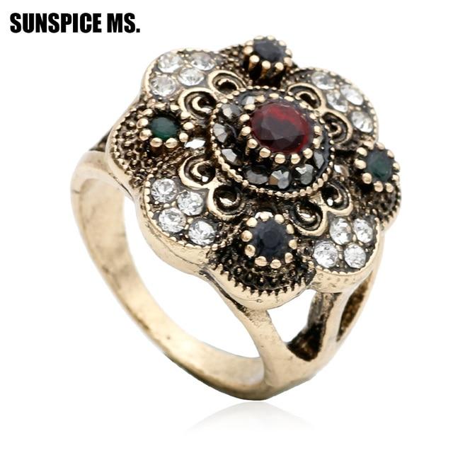 Popular New Arrive Turkish Women Vintage Flower Rings Antique Gold Color  NG53