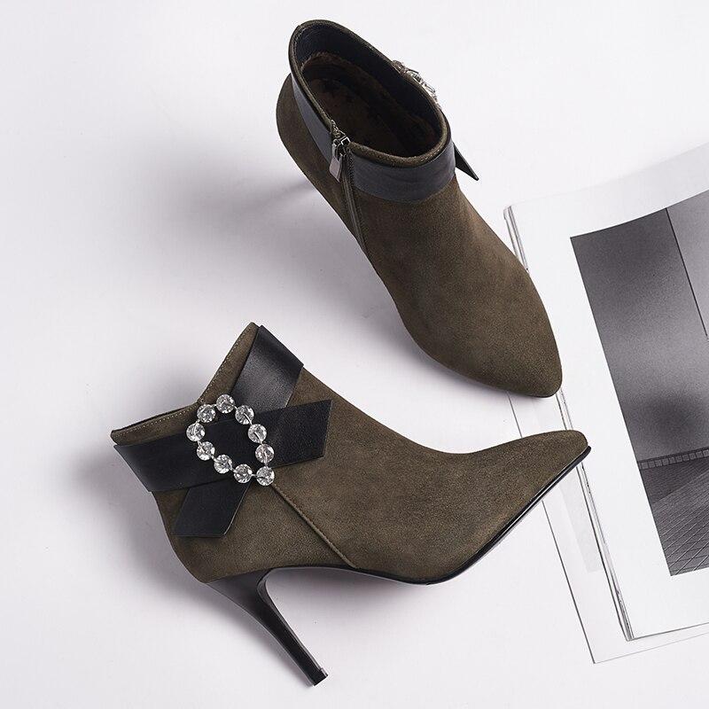97390da4d1530 Univers D hiver Bottes Pour Enfant Talons Chaussures Bottines Suède  Élégante Cristal G321 Femmes green À ...