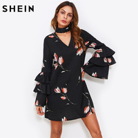 SHEIN Choker Neck Layered Flare Sleeve A Line Dress Black Floral Autumn Dress Long Sleeve V
