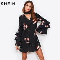 SHEIN Choker Neck Layered Flare Sleeve A Line Dress Black Floral Autumn Dress Long Sleeve V