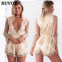 Autumn Sexy Women V Neck Sequins Jumpsuit Mesh Long Sleeve Clubwear Green Gold Party Rompers 2018 Brands Playsuit Overall KLY 65