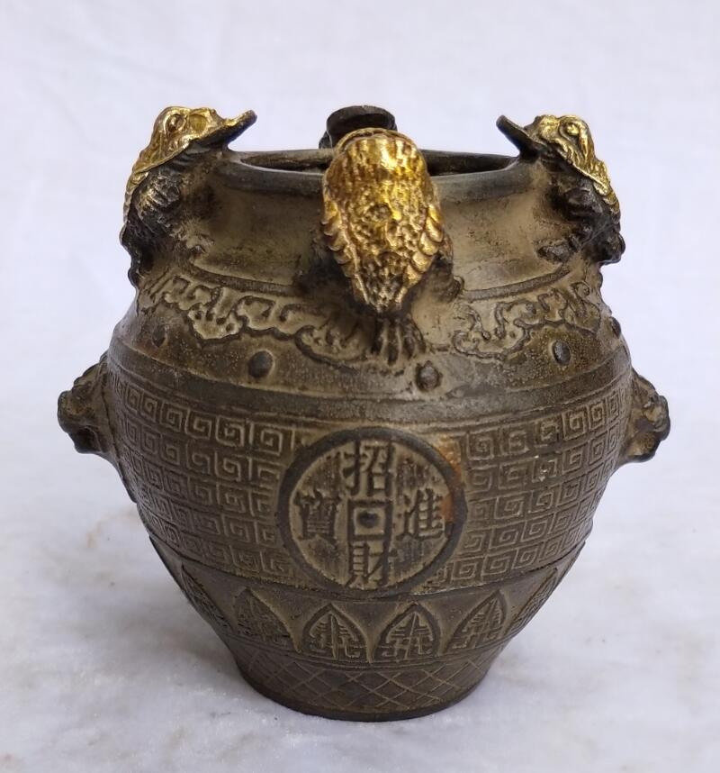 Chinois Antique pot collection vieux bronze sculpté 4 doré crapaud pot décoration de la maison en métal bouilloire