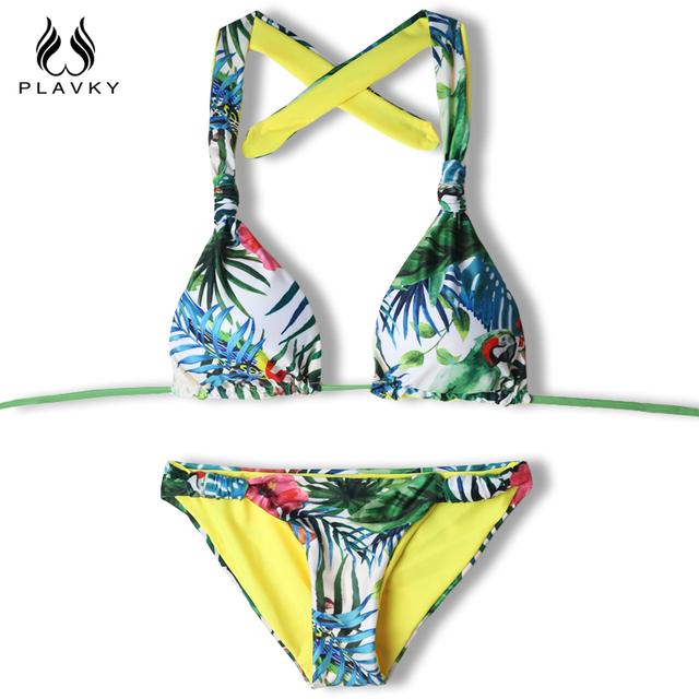 2017 Female Sexy Halter Push Up Thong Bandeau Biquini Ruffled Swimsuit String Swim Wear Beach Bathing Suit Swimwear Women Bikini