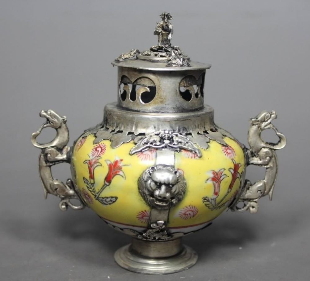 Китайский Старый Фарфор ручной работы Картина Дракон курильница украшения сада 100% Настоящее Тибетский серебро латунь