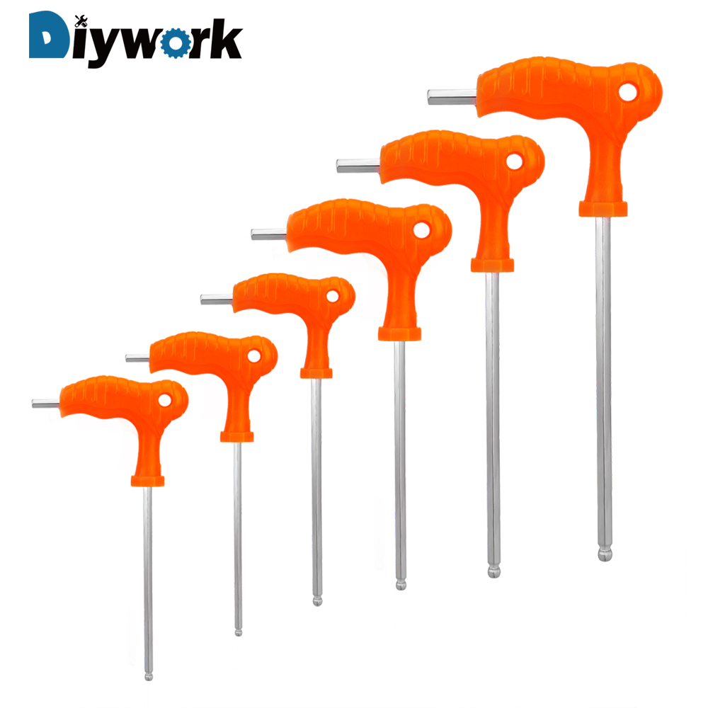 DIYWORK Allen Hex Key Wrench T Handle Inner Hexagon Wrench 2.5mm 3mm 4mm 5mm 6mm 8mm High-carbon Steel Hand Tool Spanner