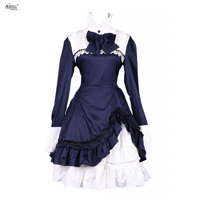 Ainclu Womens XS-XXL White Navy Blue Ladylike Cotton Stand Collar Long Sleeves Classic A-line Lolita Dress for Casual/Party