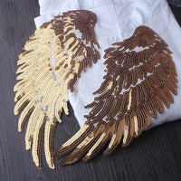 Goud/siver vleugel iron sticker voor kleding pailletten patches, lovertjes applique patches voor kleding parches bordados termoadhesivos