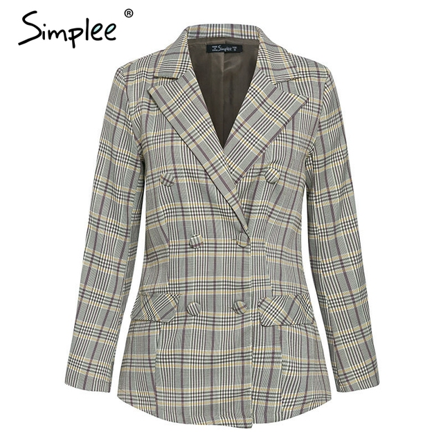 Two piece Plaid double women blazer Long sleeve office pant suits