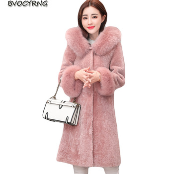 Fur Coat Women 2018 New Autumn Winter Plus Size Long Fox Fur Hooded Trench Parka High end Women Leisure Fur Outerwear A0817