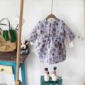 Ropa de las muchachas 2-8 t nueva primavera de dibujos animados peces pequeños impresos chaleco falda + abrigo de dos piezas de la moda juego de la muchacha dress juegos para niños