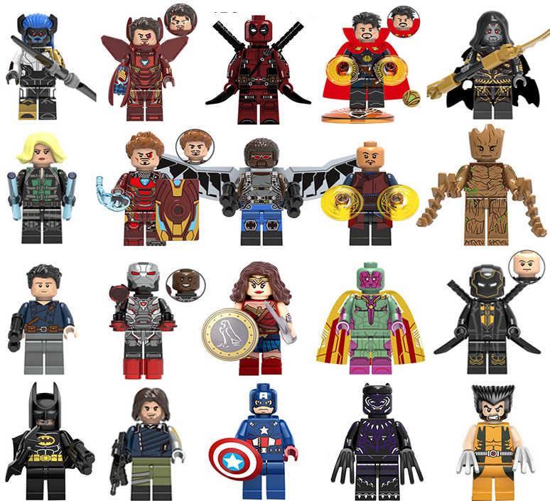 Super Heroes ใหม่ lEGOED Marvel Avengers Infinity War Iron Man Thanos Thor Black Panther Falcon Gamora Hulk อาคารบล็อกของเล่น