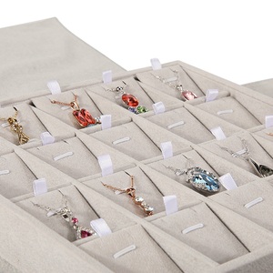 Image 5 - Portable Ring Jewelry Display Tray Box with Cover Earring Stud Pendnat Necklace Bangle Stand Holder Travel Storage Carrying Case