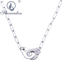 Slovecabin Authentic 925 Sterling Silver Handcuffs Menottes Pendant Choker Necklaces For Women High Quality Silver 925 Jewelry