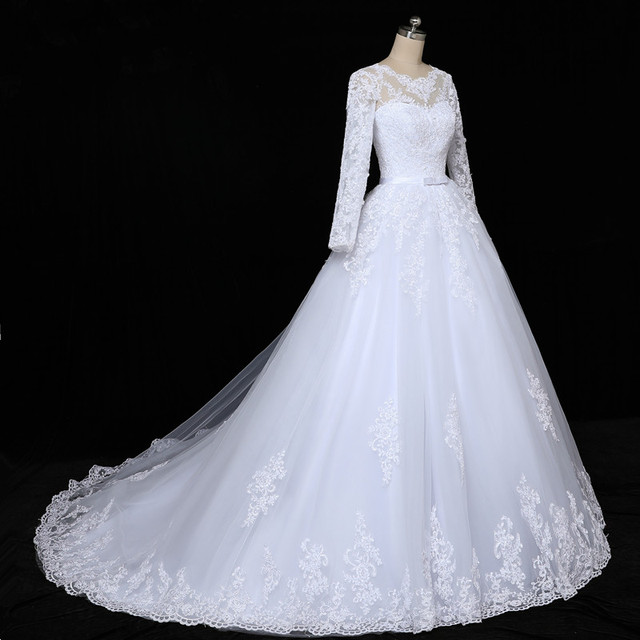 QQ Lover 2019 Long Sleeve Vestido De Noiva Lace Gowns Wedding Dress Train Custom-made Plus Size Bridal Tulle Mariage