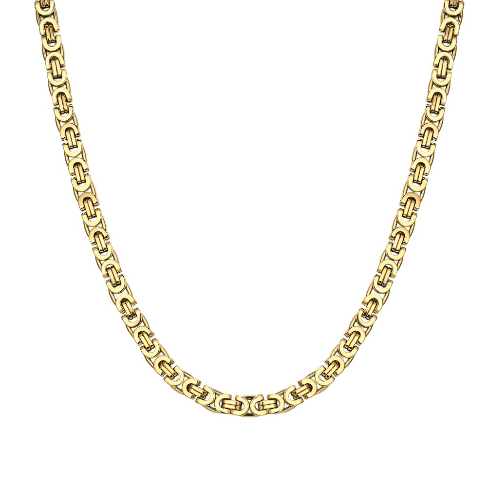 Classical Punk Byzantine Chain Necklace for man 9 mm width Gold Color/ steel  Stainless Steel Jewelry Accessories boy Gift