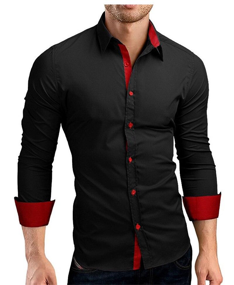 High Quality Men Shirt Male Long Sleeve Shirts Casual Hit Color Slim Fit Black Man Dress Shirts 4XL