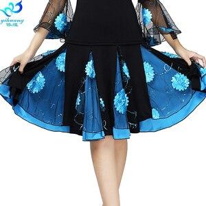 Image 4 - Senhoras saia de dança de salão feminino moderno padrão valsa desempenho saia palco salsa latina rumba cintura elástica #2625 1