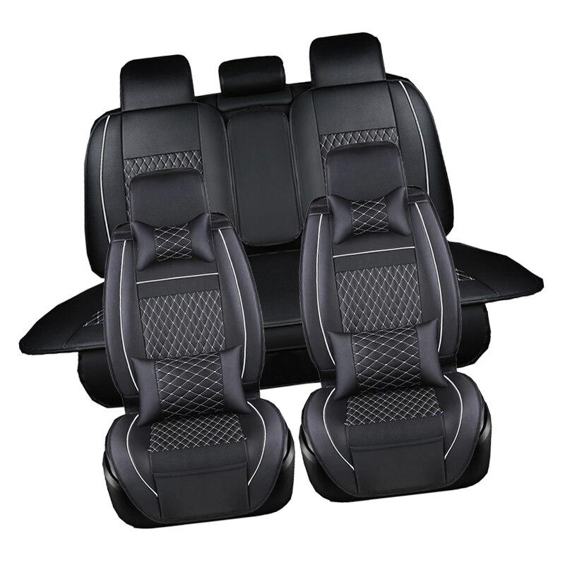 Housse de siège étanche à l'eau noir ensemble complet de voiture en cuir imperméable housses de siège protecteur Auto coussins pour Fiat Viaggio Ottimo - 2