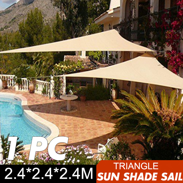 Beau 2.4x2.4x2.4m Triangle Sun Shade Sail Canopy Patio Garden Awning UV Block