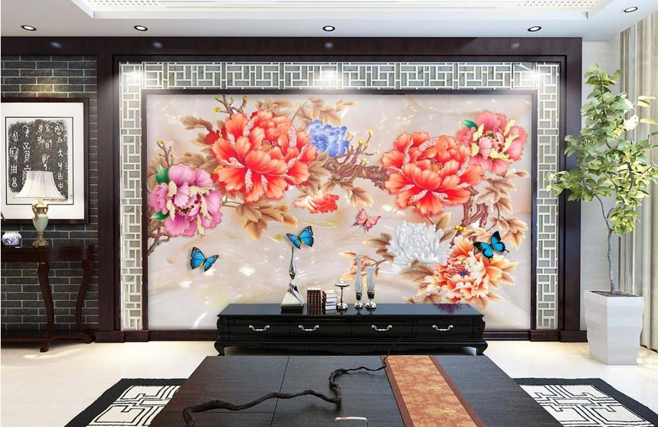 3d ceiling murals wallpaper custom photo non-woven Art glass jade tiles painting 3d wall mural wallpaper for living room 3d ceiling murals wallpaper custom photo non woven sky dandelion dove leaves painting 3d wall mural wallpaper for living room