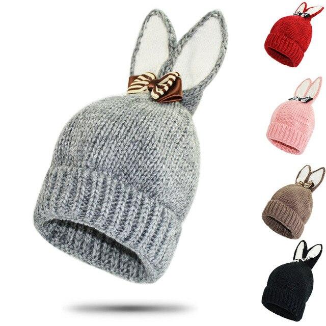 Sombrero de invierno para niños Orejas de conejo de dibujos animados ...