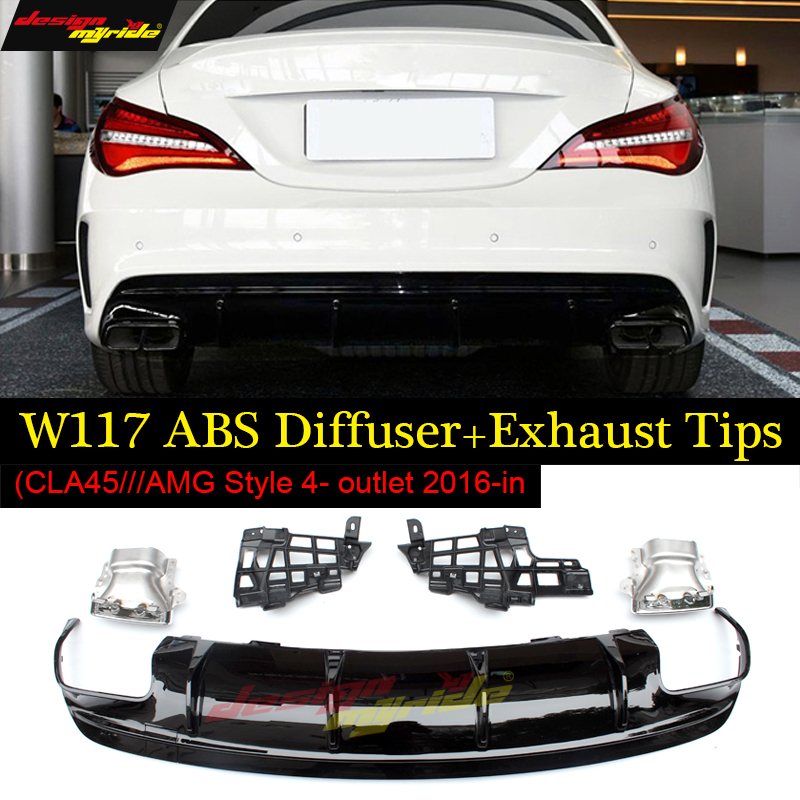 Rear Bumper Diffuser ABS Black and Exhausts for Mercedes Benz cla class W117 cla180 cla200 cla250 Sports and cla45 AMG 2016-2018