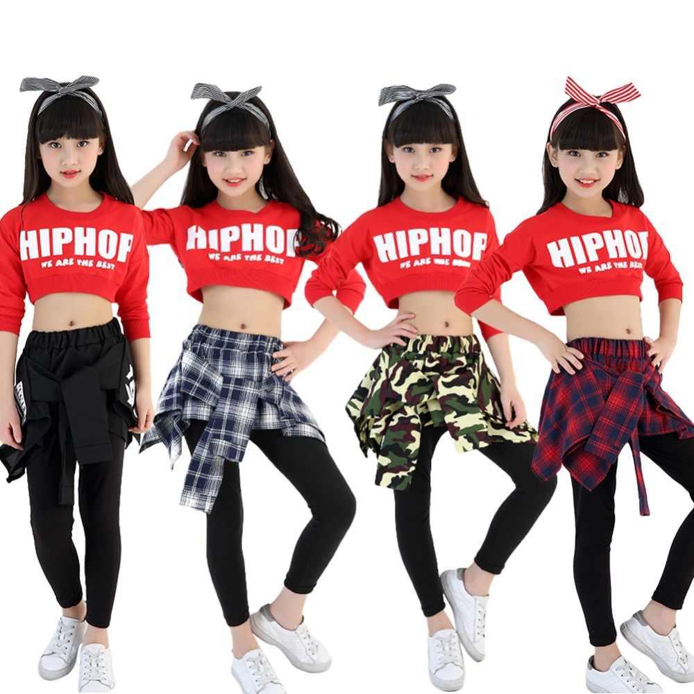 4c0a5d792d8f20 ... Kids Girls Hip-hop Clothing Sets Crop Top + Skirt Legging Jazz Dance  Wear Age ...