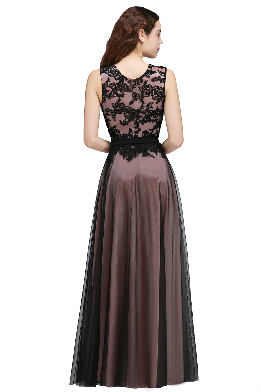 Black Long Mermaid Evening Dresses Klänningar Satin Appliques Lace - Särskilda tillfällen klänningar - Foto 4
