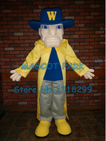 long yellow wind coat Cavalier mascot costume adult size customizable warrior theme mascotte fancy dress carnival costumes