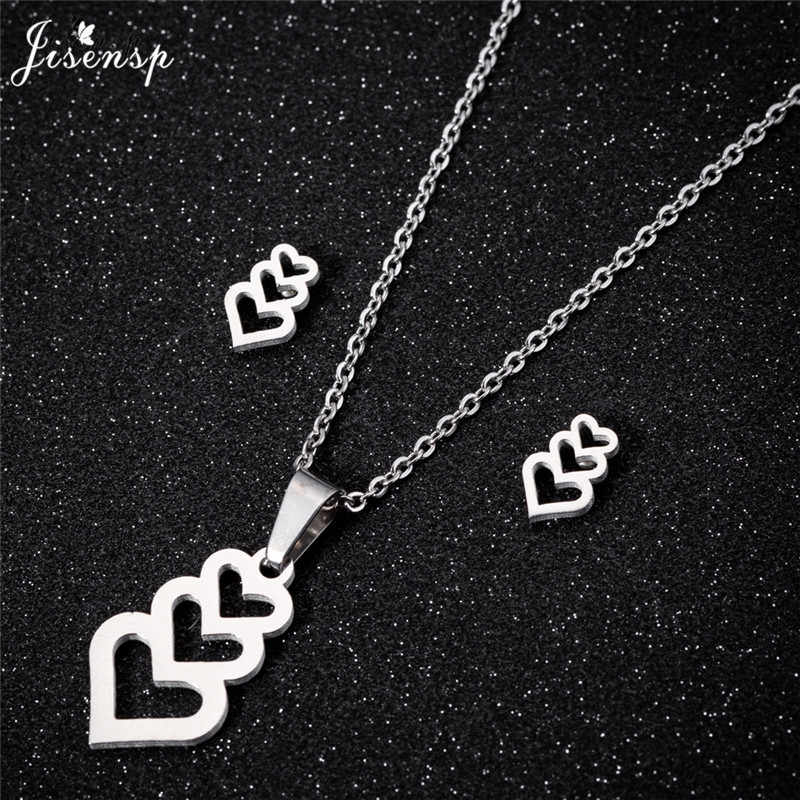 Jisensp Hollow Heart Necklace Jewelry Sets for Women Stainless Steel Stud Earrings Love Pendant Choker Necklace Accesorios Mujer