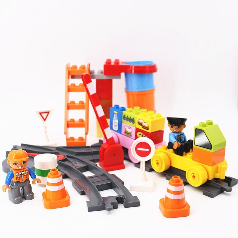 DIY  City Train Tracks Duploe Accessory City Traffic Sign Building Blocks Trailer Tube Ladder Bricks Kids Toys For Children