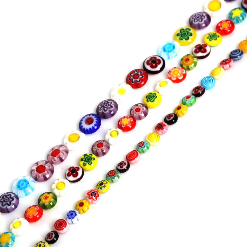 6 8 10mm Hole 1mm Charm Glass Beads Millefiori Flower Lampwork Loose Spacer Beads For Jewelry Making DIY Necklace Bracelet(China)