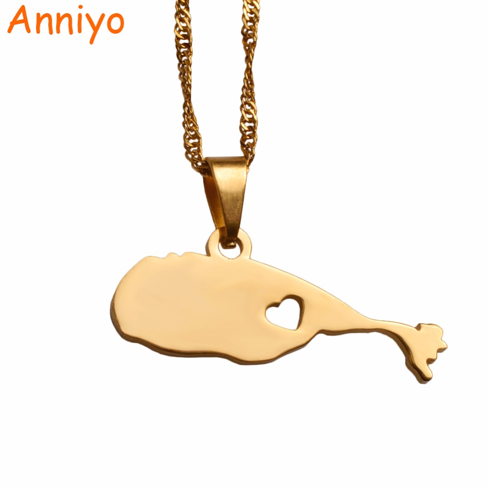 Anniyo The Federation of Saint Kitts and Nevis Map Pendant Necklaces Gold Color Jewelry Gifts #030621-031121Anniyo The Federation of Saint Kitts and Nevis Map Pendant Necklaces Gold Color Jewelry Gifts #030621-031121