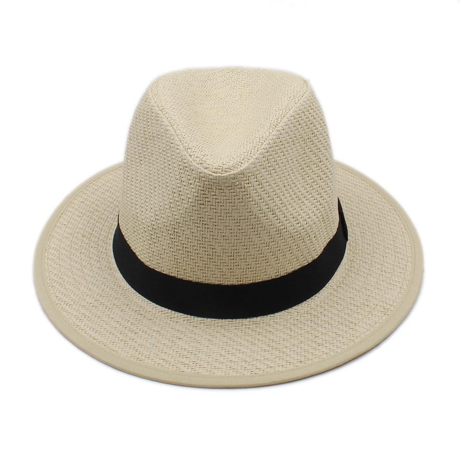 Donne di estate Degli Uomini Della Spiaggia Toquilla Gangster Paglia Panama  Cappello per il Sole Per Signora Elegante Signore Trilby Fedora Cap  Paglietta ... f1f11d99a968