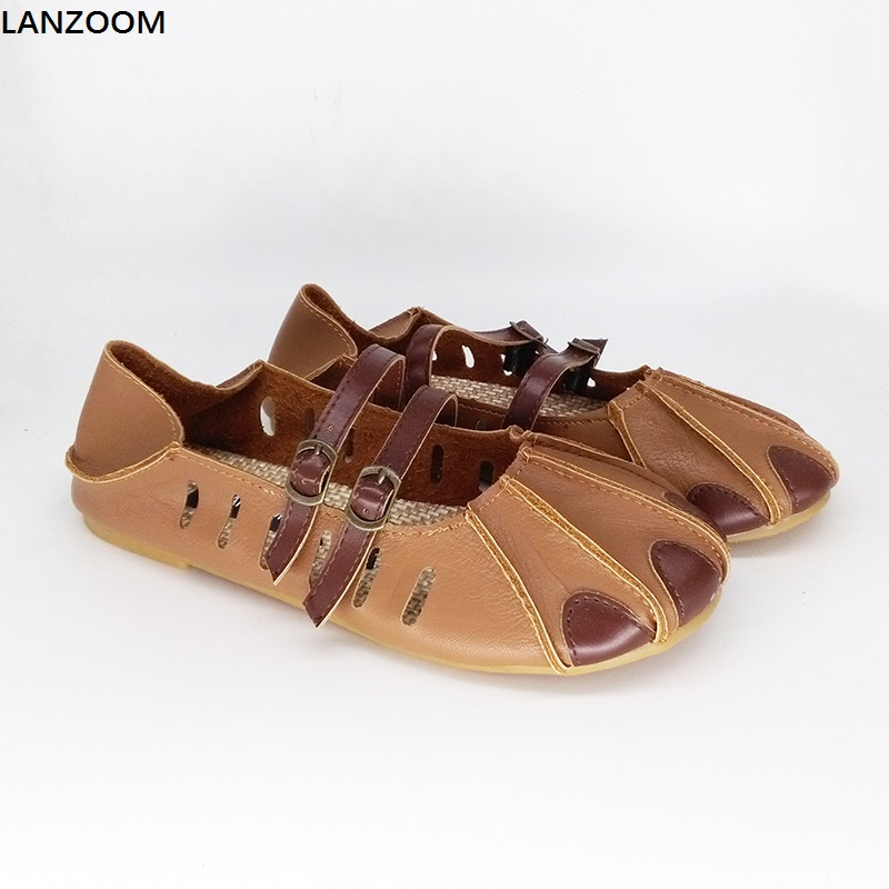 LANZOOM fashion slides women leather sandals ballet flats buckle patchwork slip on slippers two ways wear Footwear Casual Shoes 2017 new fashion women summer flats pointed toe pink ladies slip on sandals ballet flats retro shoes leather high quality