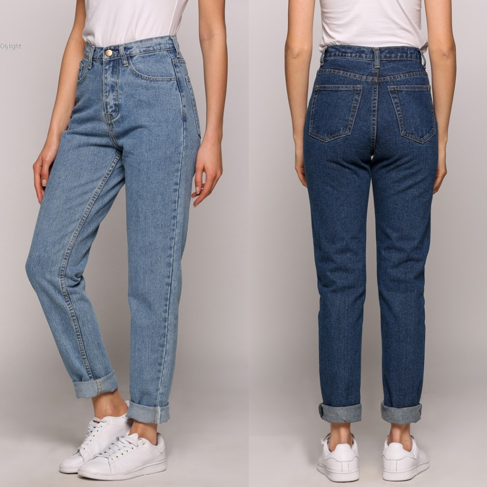 Women Trendy Casual Vintage High Waist Street Harem Pants lady Dark Light Blue Loose Female Denim Baggy Jeans Plus Size