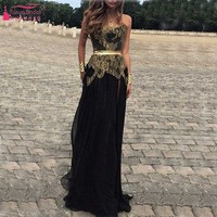Shinny Bling Gold Appliques Black Evening Dress With Sash Bridesmaid Dress vestido de festa robe de soiree long Party Dress Z074