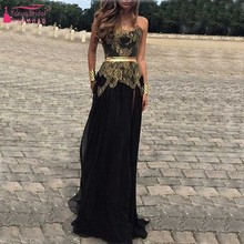 Shinny Bling Gold Appliques Schwarz Abendkleid Mit Schärpe heimkehr kleid vestido de festa robe de soiree lange Kleid Z074
