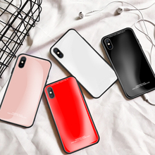 LISM Fashion Simple Plain Tempered Glass Phone Case Cover For iPhone 6 6S 7 8 Plus X XR XS Max Anti-knock Protector